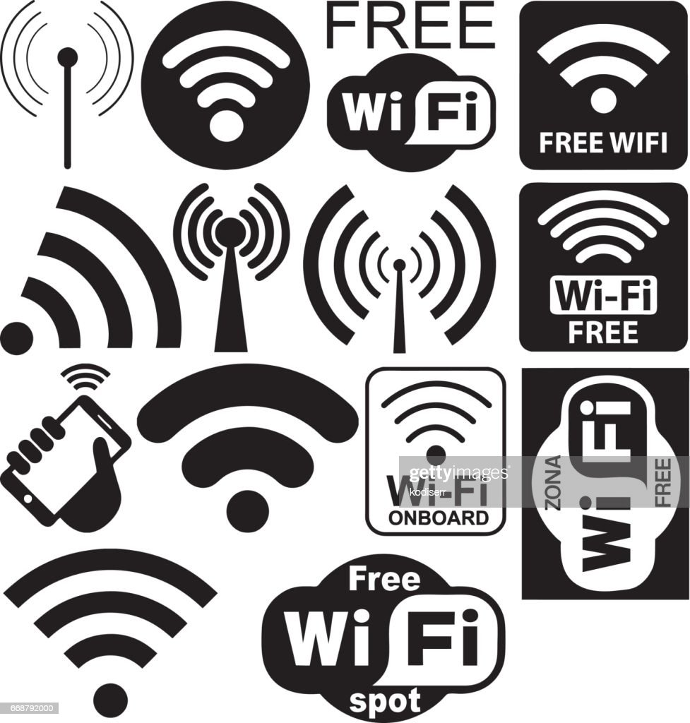 Vector Collection Of Wifi Symbols Vector Art Getty Images