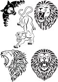 Vector collection of wild animal tattoo