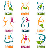vector collection of women health and care symbols, logo, labels or emblems