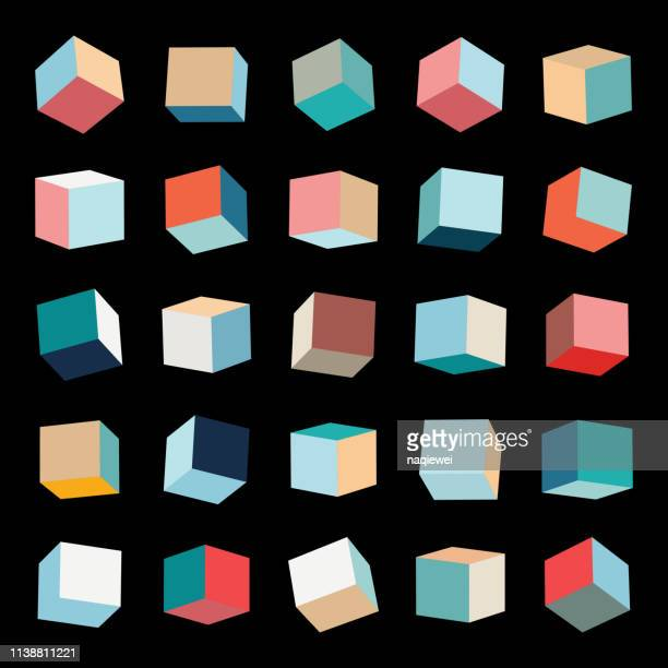 vector color box pattern cube collection - three dimensional stock illustrations