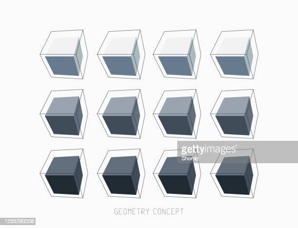 stockillustraties, clipart, cartoons en iconen met patroonblokje vectorkleurvak - kubus