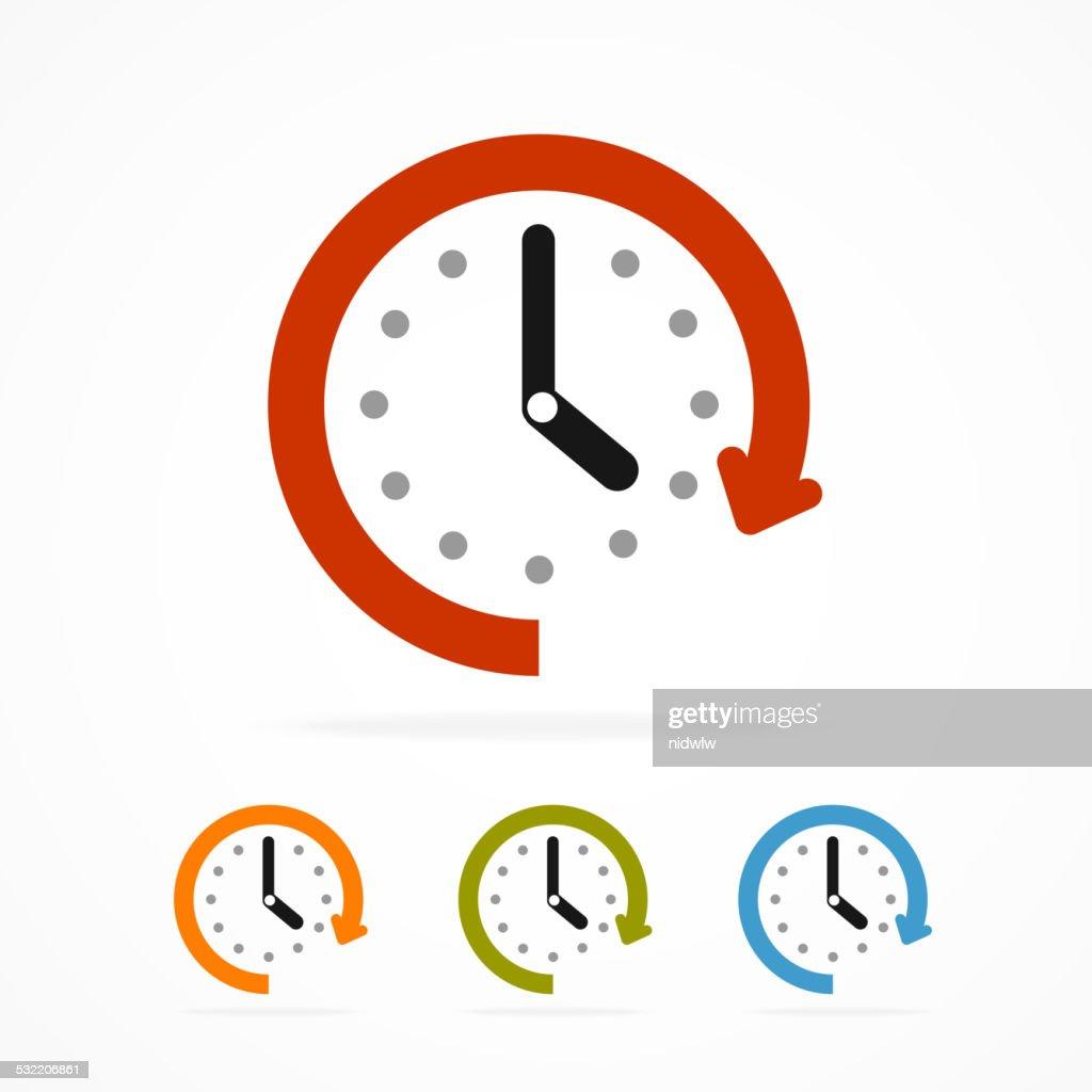 Vector color clock icon.