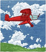 Vector color drawing of airplane stylized as engraving