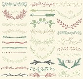 Vector Color Hand Drawn Dividers, Branches, Swirls