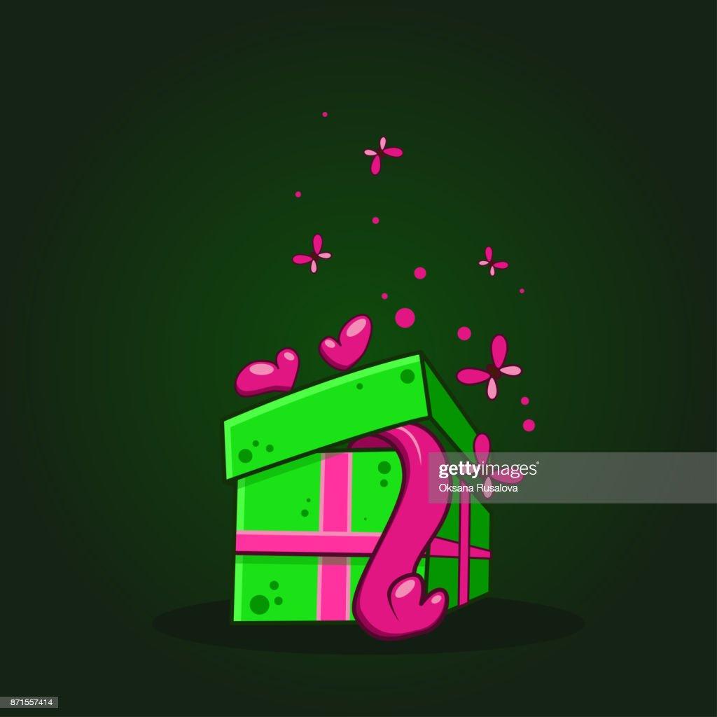 Vector Color Illustration Of Cartoon Fall In Love Gift Box On Dark
