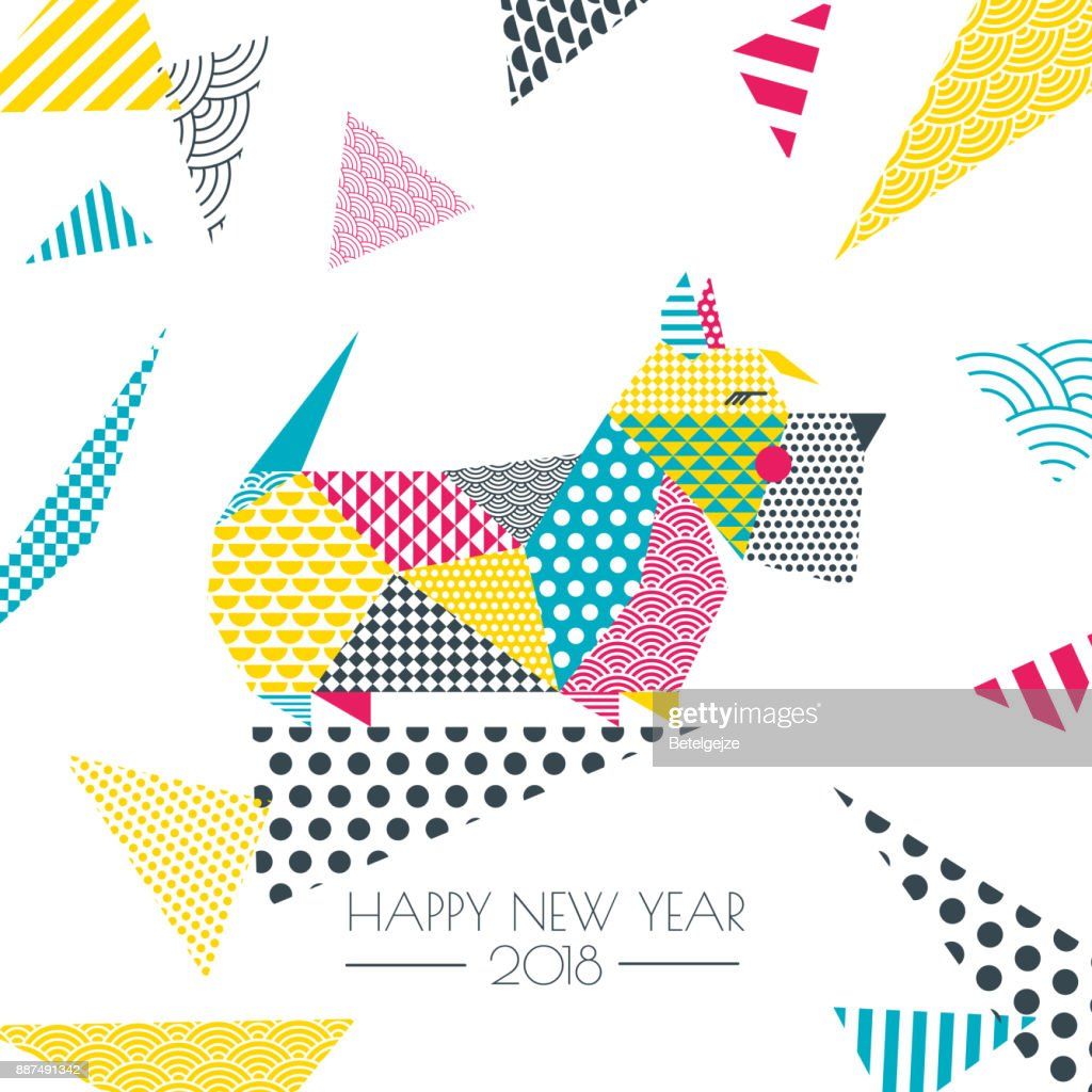 vector color illustration of scottish terrier dog with patchwork geometric triangle texture new year greeting
