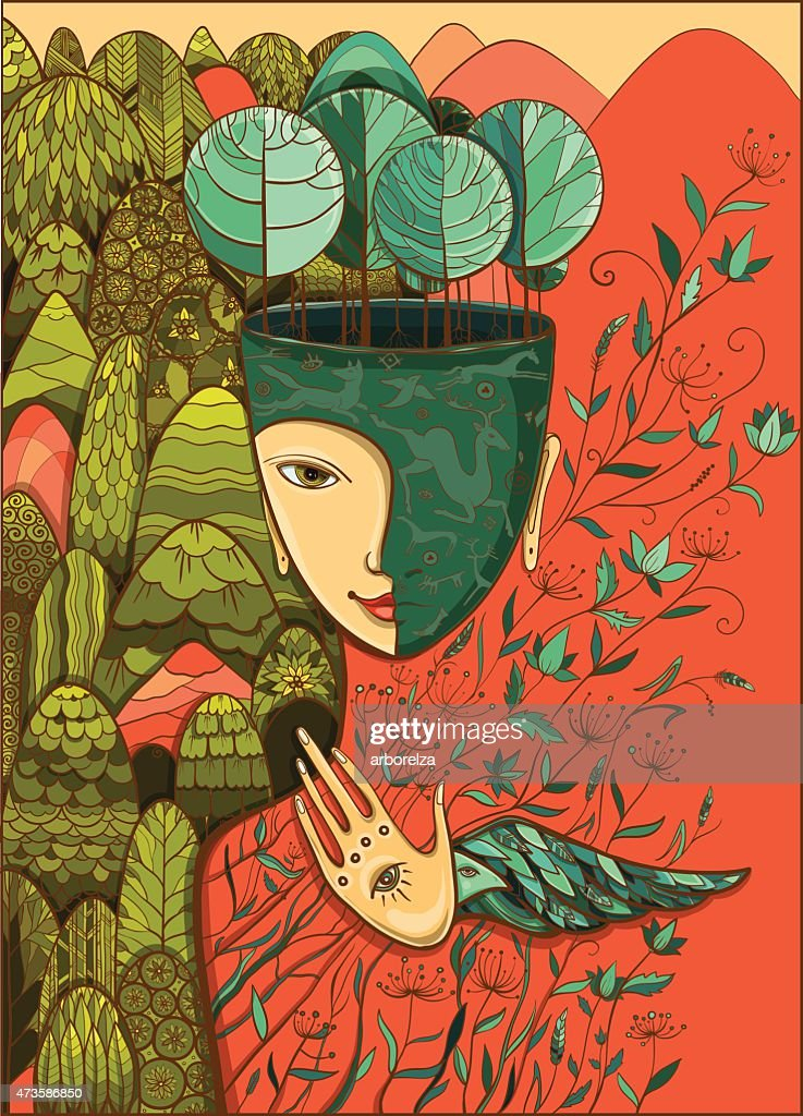 Vector color illustration of the goddess of Mother Nature