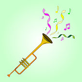 Vector color illustrations cartoon trumpet playing at the masquerade. Multi-colored ribbons and musical notes.