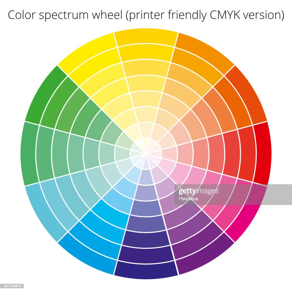 Vector color spectrum, CMYK palette, on white background