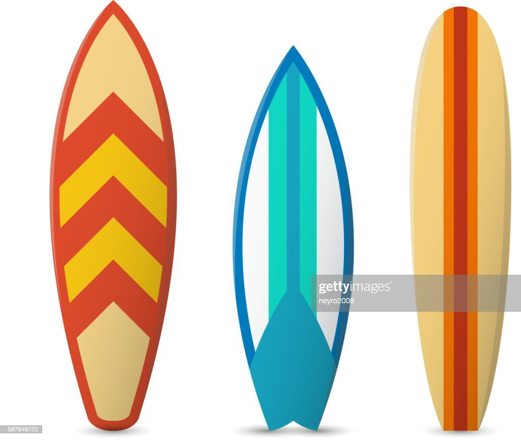 Vector color surfboard set