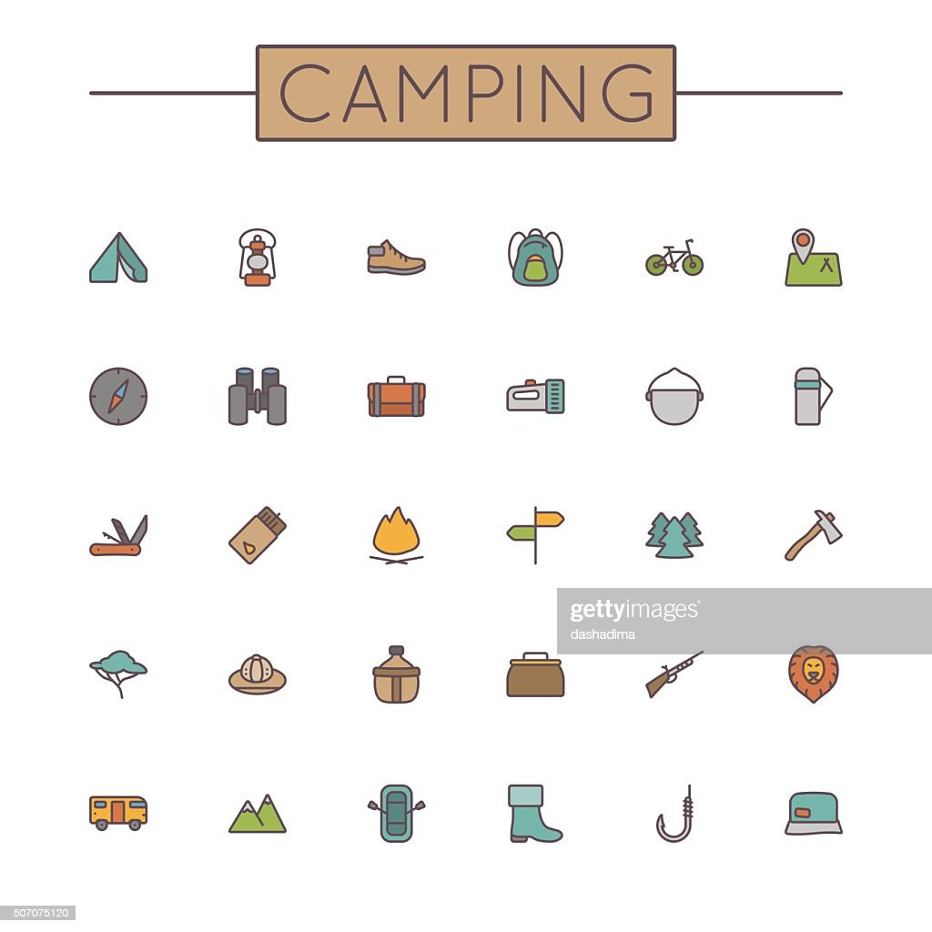 Vector Colored Camping Line Icons