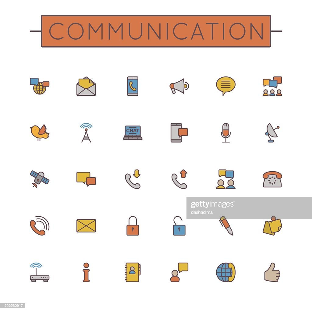 Vector Colored Communication Line Icons