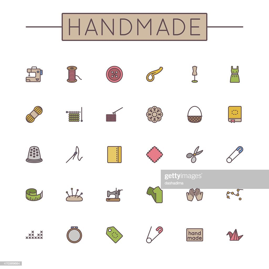 Vector Colored Handmade Line Icons