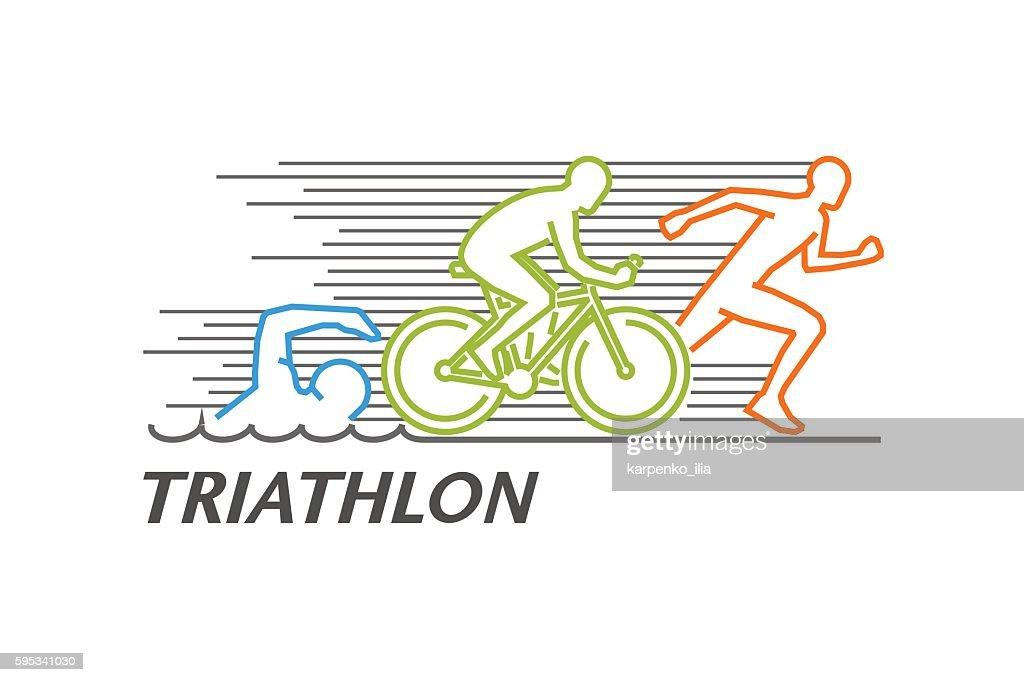 Vector colored line logo triathlon