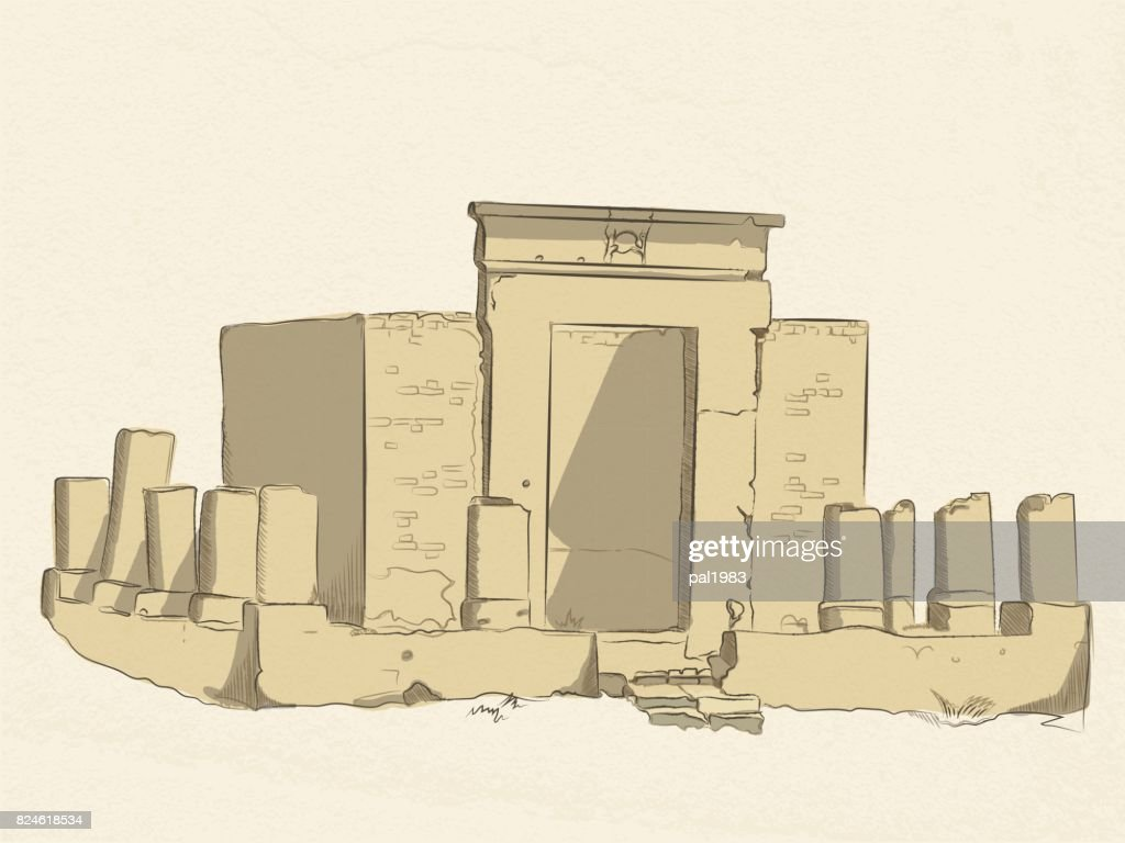 vector colored sketch of the ruins of a Christian sanctuary in the temple of Amun-RA in Luxor. Egypt. on old paper background.