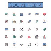 Vector Colored Social Media Line Icons