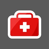 Vector  colored sticker icon first-aid set. First aid symbol. Layers grouped for easy editing illustration. For your design.