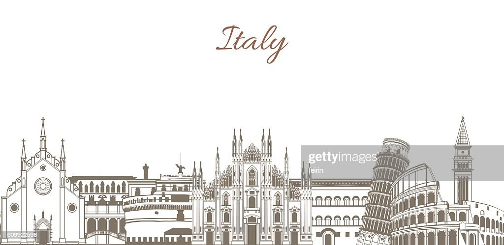 vector colored template with composition with famous landmarks of Italy