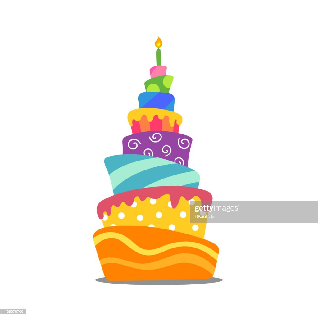 Vector Colorful Abstract Birthday Cake
