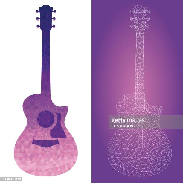 vector colorful abstract geometry guitar - two dimensional shape stock illustrations