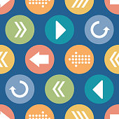Vector Colorful Arrow Circles Seamless Pattern