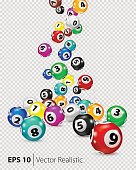 Vector Colorful Bingo balls fall randomly