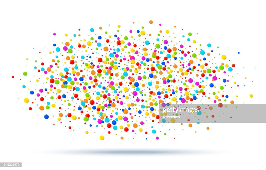 Vector colorful bright rainbow colors oval cloud confetti round papers isolated on white background. Birthday template and Holiday design element.