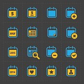 Vector Colorful Calendar Icons on dark