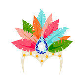 Vector colorful carnival head dress with feather isolated on white