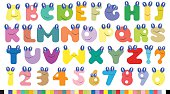 Vector colorful children alphabet spelled out with eyas and smil