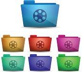 Vector colorful cinema folders