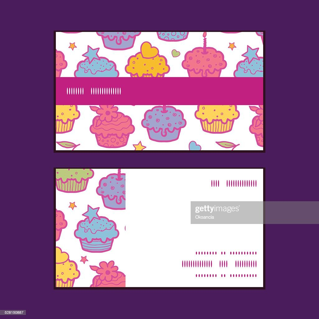 Vecteur Cupcake Colore Un Motif A Rayures Horizontales De Cartes Visite Clipart Vectoriel