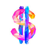 Vector colorful dollar sign of triangles