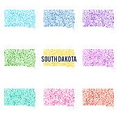 Vector colorful dotted map of the state of South Dakota.