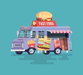 Vector colorful flat fast food truck. Street cuisine.