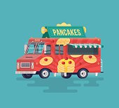 Vector colorful flat pancakes truck.
