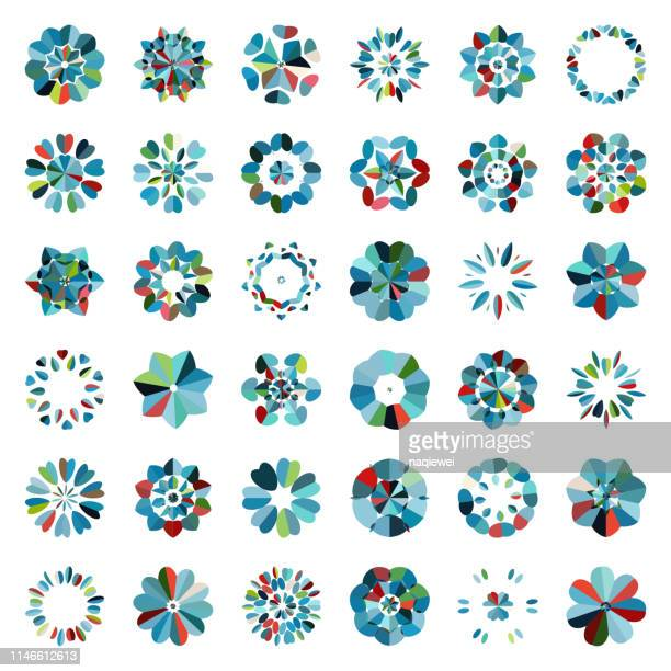 vector colorful floral buttons pattern icon collection - flower head stock illustrations
