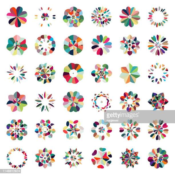 vector colorful floral pattern buttons icon collection - mosaic stock illustrations