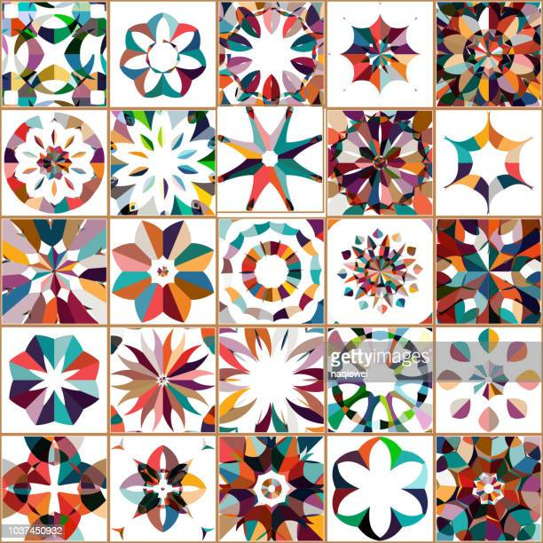 vector colorful floral pattern tile collection - craft product stock illustrations