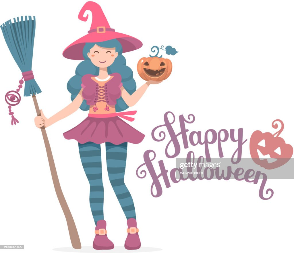 Vector colorful halloween illustration of witch character