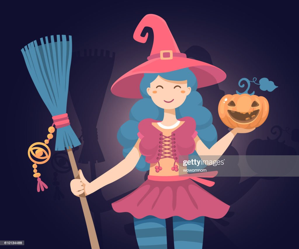 Vector colorful halloween illustration of witch character with broom