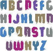Vector colorful hand-painted letters isolated on white backgroun