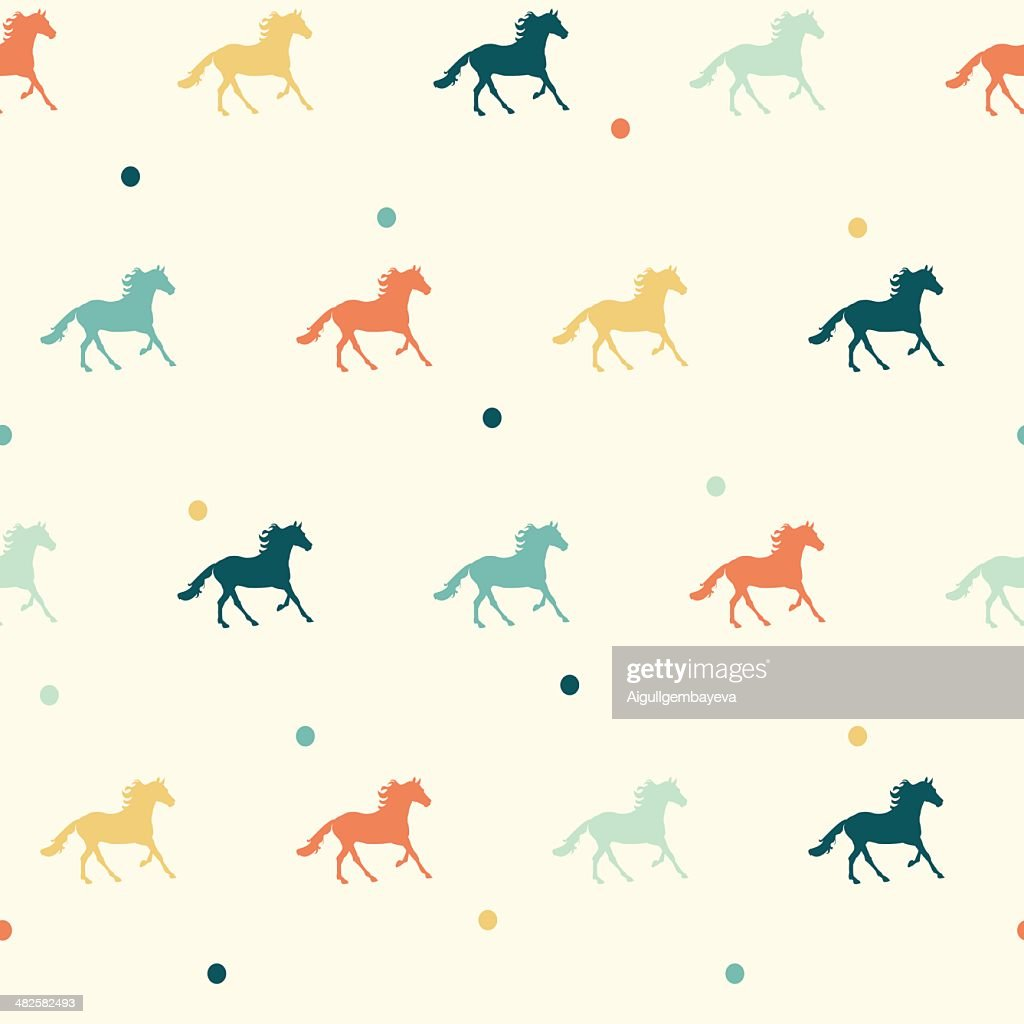 Vector colorful horse seamless pattern.