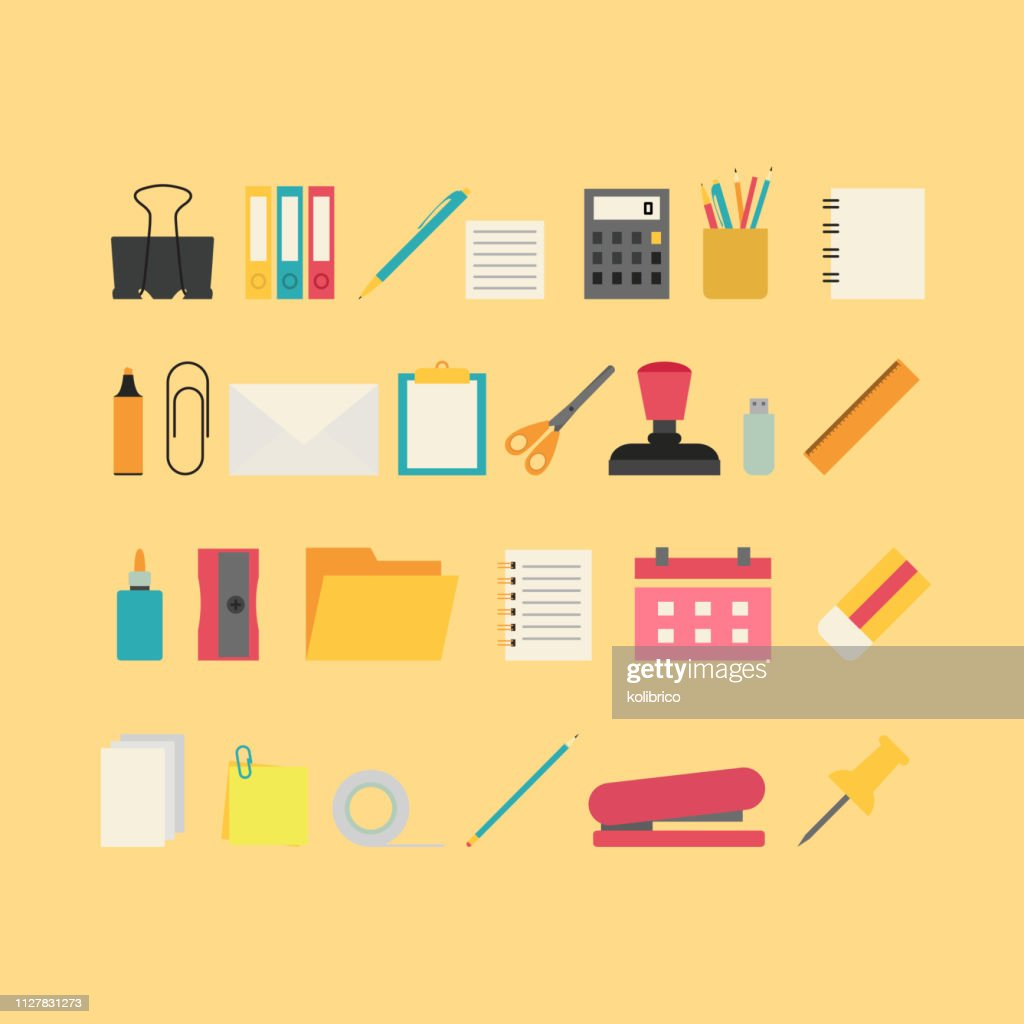 Vector colorful icons of stationery. Stationery tools icons.