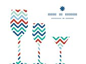 Vector colorful ikat chevron three wine glasses silhouettes pattern frame