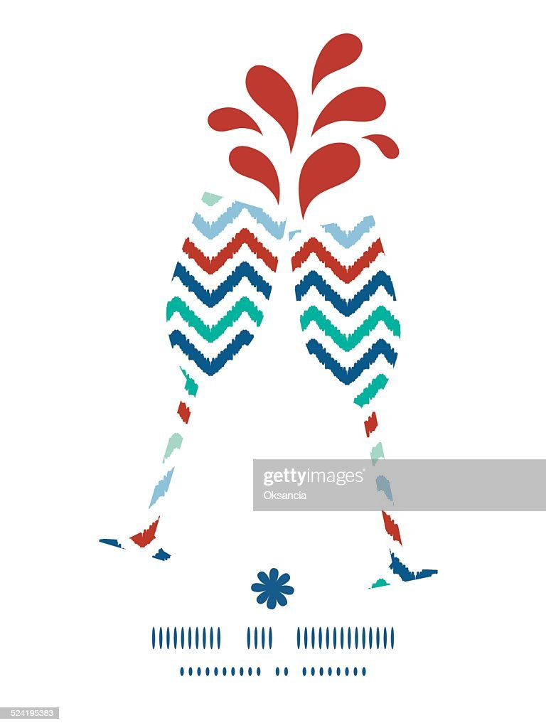 Vector colorful ikat chevron toasting wine glasses silhouettes pattern frame