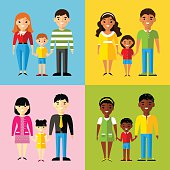 Vector colorful illustration of african american, asian, arab, european family