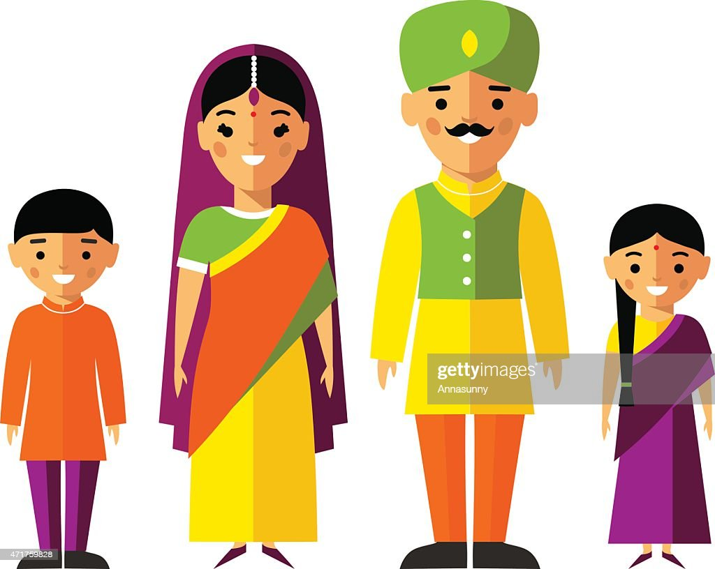 Vector colorful illustration of indian  family in national clothes
