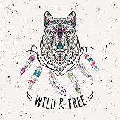 Vector colorful illustration of tribal style wolf with ethnic ornaments, feathers, threads. American indian motifs. Boho design. Wild and Free concept.