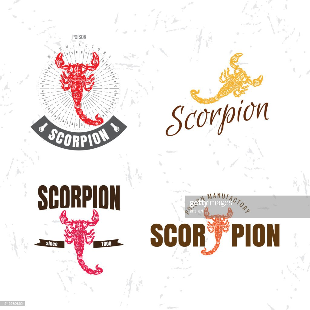 Vector colorful logo set with scorpion